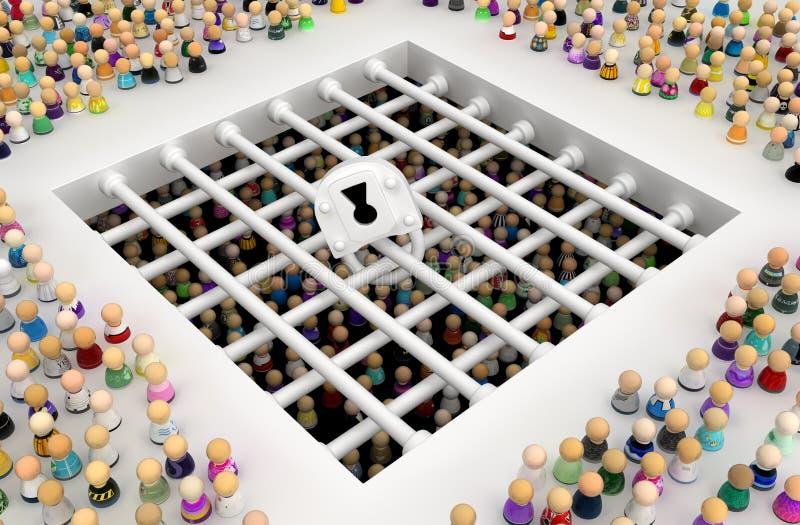 Multidão dos desenhos animados, prisão ilustração do vetor