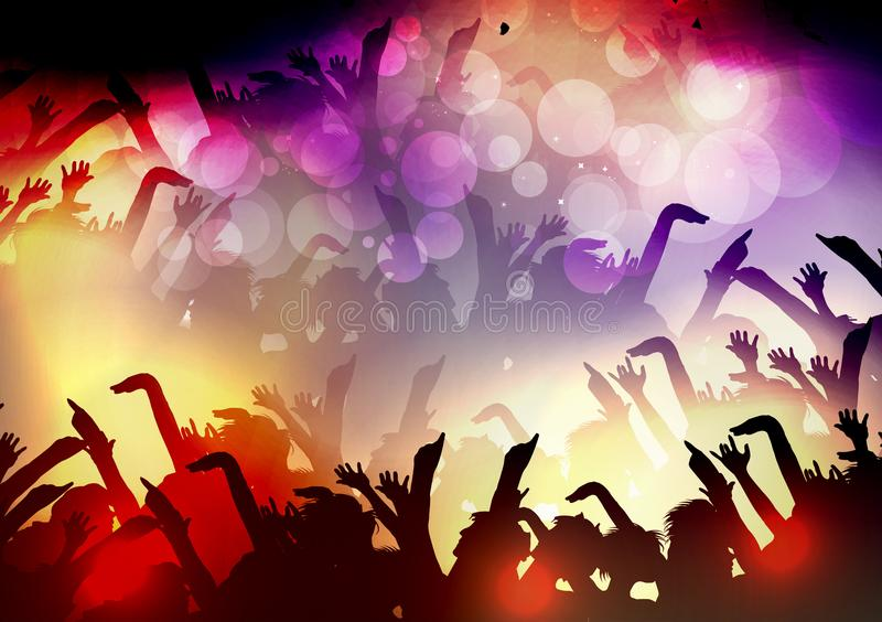Multidão dos povos do partido, fundo festivo do evento do disco - vetor Illu ilustração stock