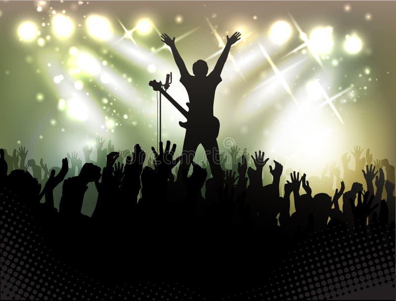 Multidão dos povos, silhuetas no clube noturno ilustração royalty free