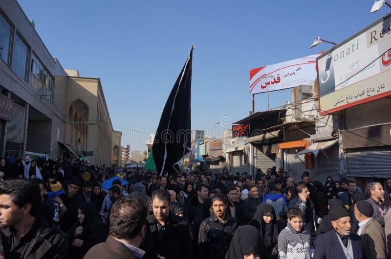 Multidão em Tehran durante o feriado religioso Arbaeen fotos de stock royalty free