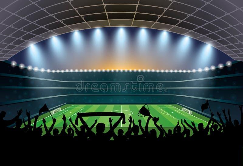 Multidão entusiasmado de povos em um estádio de futebol Estádio de futebol ilustração do vetor