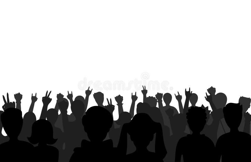 A multidão ereta fêmea masculina do conceito e do divertimento do negócio preto do grupo de pessoas de fãs dos amigos das silhuet ilustração royalty free