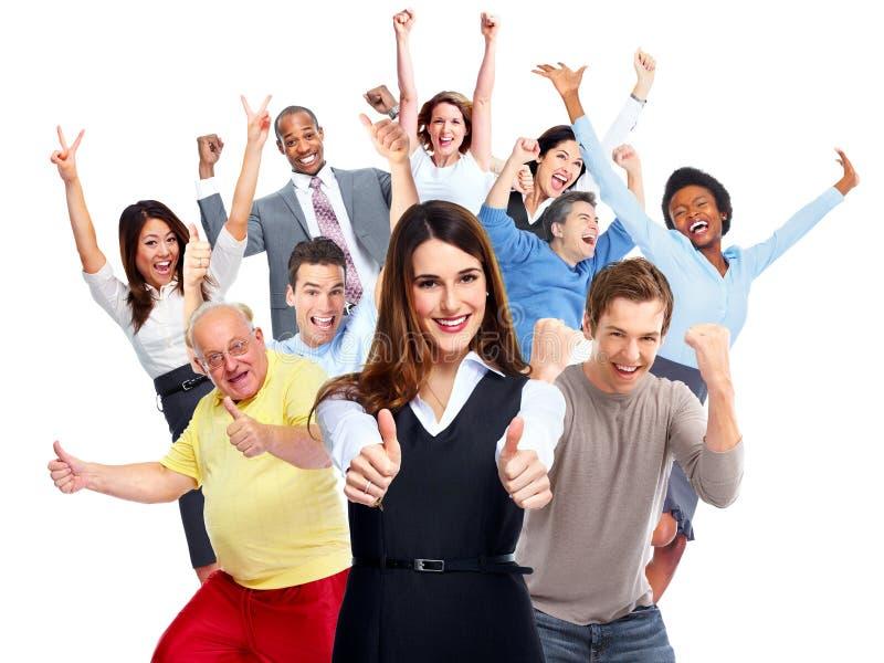 Multidão feliz dos povos foto de stock