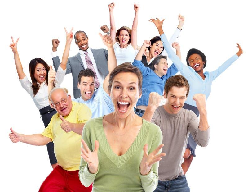Multidão feliz dos povos fotos de stock royalty free