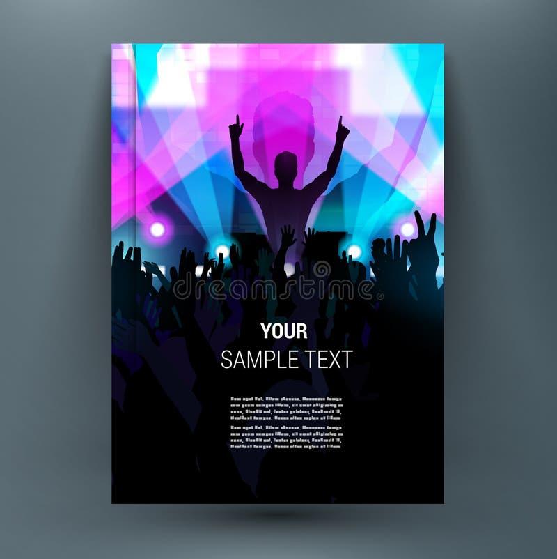 Multidão feliz na fase com mãos acima levantadas Folha do título do folheto A4 ilustração royalty free