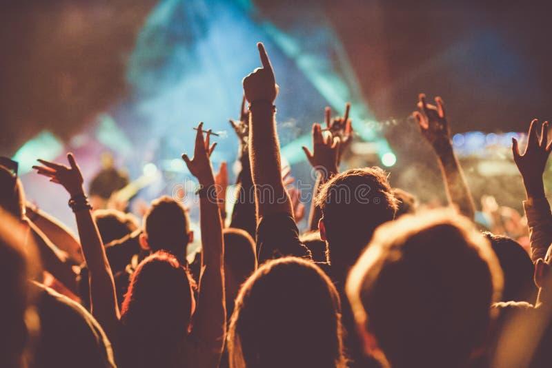 multidão no concerto - festival de música do verão fotos de stock