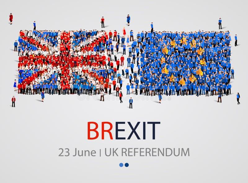 Multidão ou grupo de pessoas no formulário de bandeiras de Ingleses e de Europa União Europeia de Reino Unido Brexit ilustração do vetor