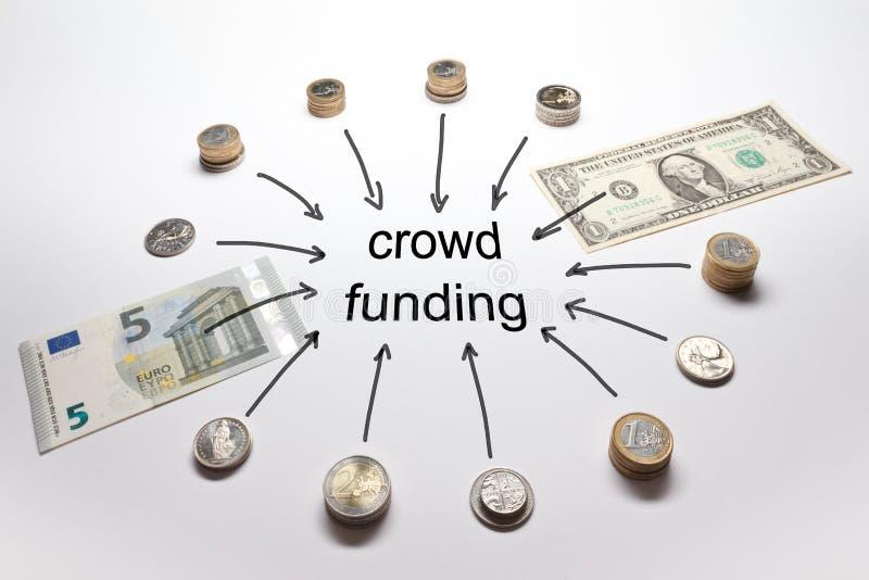 Multidão que financia o dinheiro americano europeu foto de stock