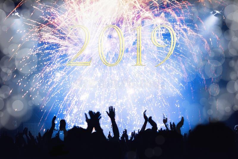Multidão que olha fogos-de-artifício do ano novo fotos de stock
