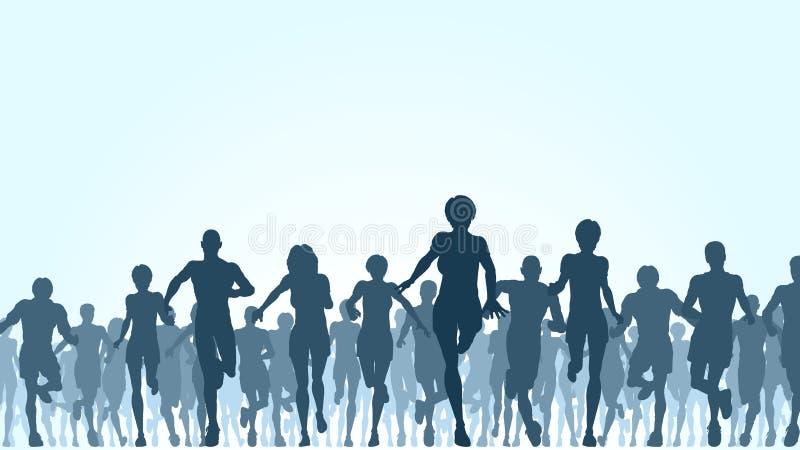 Multidão Running ilustração royalty free