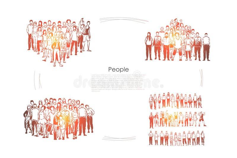 Multidões, homens novos e mulheres estando junto, recolhimento, cooperação da equipe, coesão e bandeira maciços da unidade ilustração royalty free