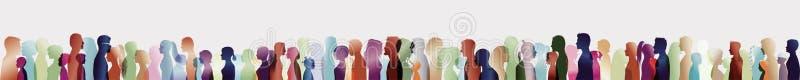 Multid?o de fala Grande grupo de pessoas Di?logo entre povos Perfis da silhueta Fala dos povos ExposureTalking m?ltiplo azul ilustração royalty free