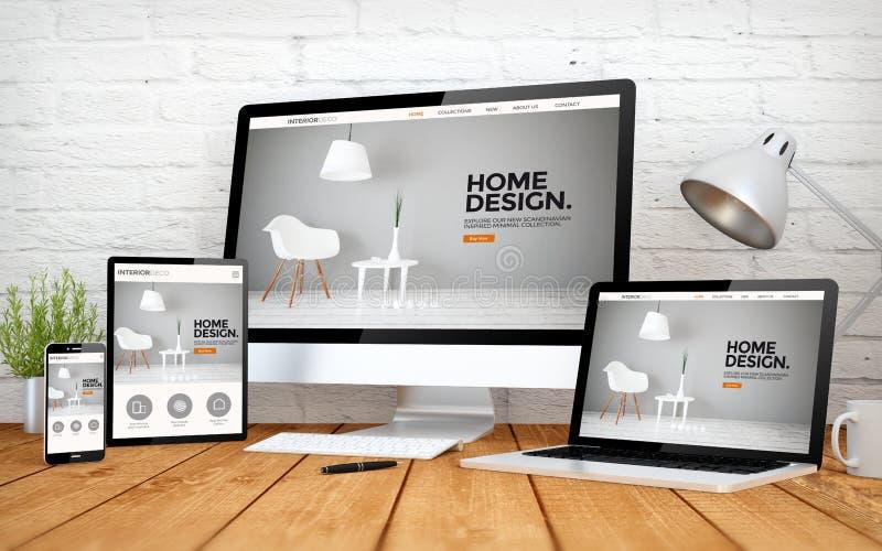 multidevices экрана дизайна интерьера иллюстрация штока