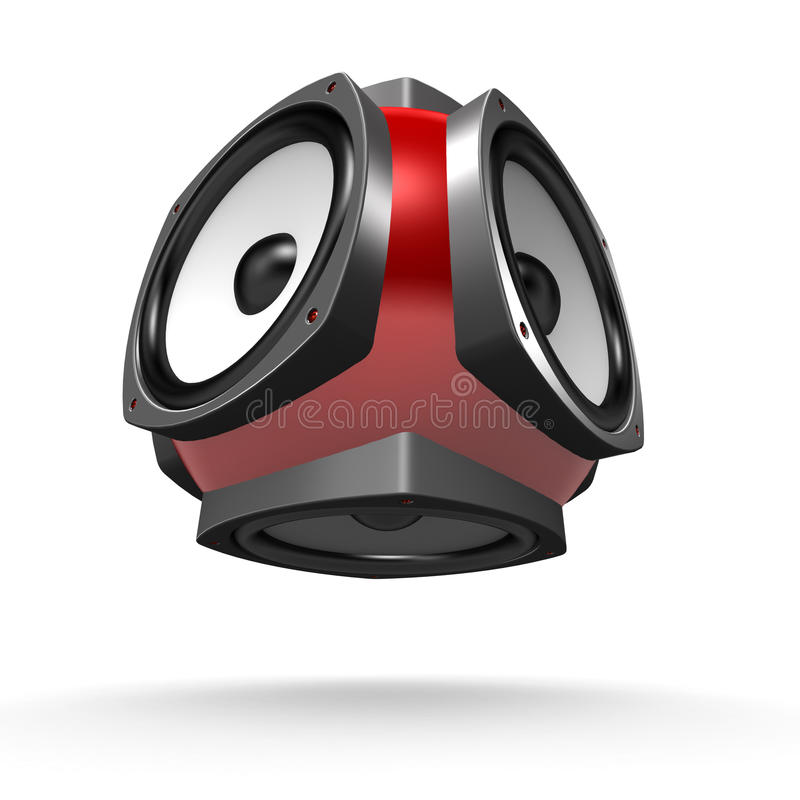 Free Multidirectional Floating Red Loudspeaker Stock Image - 18367161