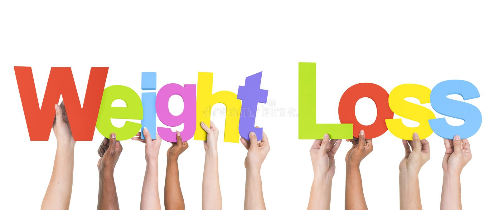 Multiethnic Arms Raised Holding Texts Weight Loss stock images