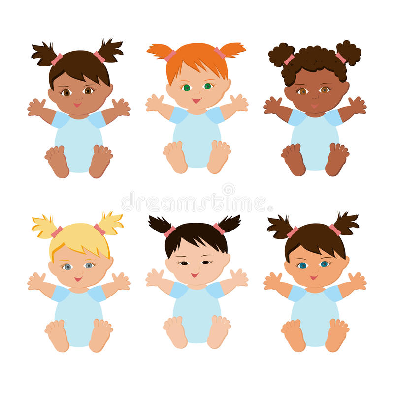 Multiethnic baby girls set. Multiethnic or multinational baby girls set isolated on whie background. Cute sitting babies with different skin, eyes and hair stock illustration