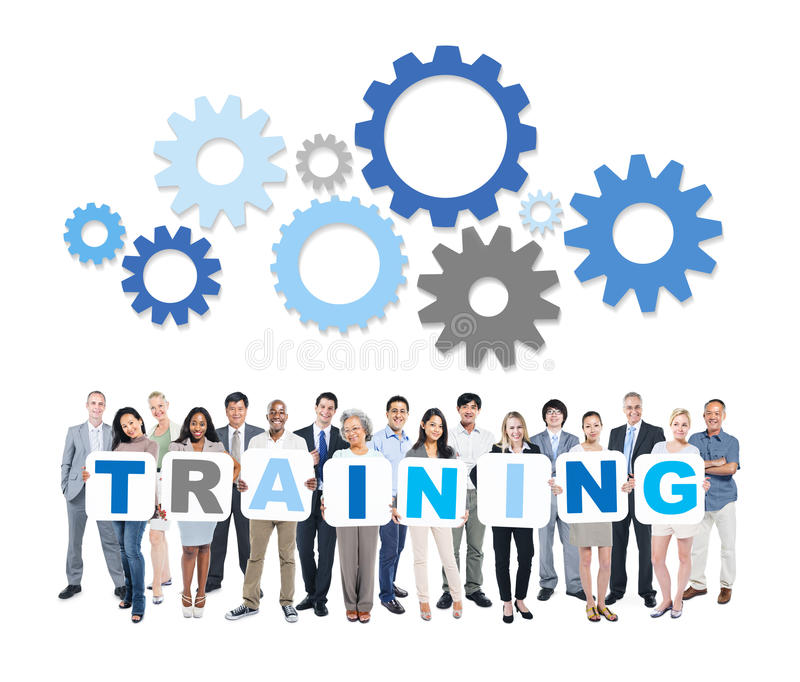 Multiethnic Business People Holding Word Training royalty free stock image