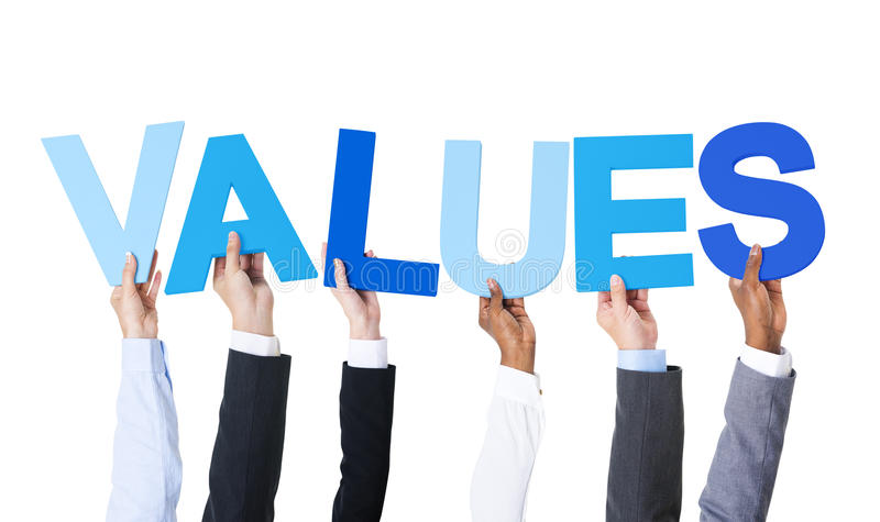 Multiethnic Business People Holding Word Values stock image