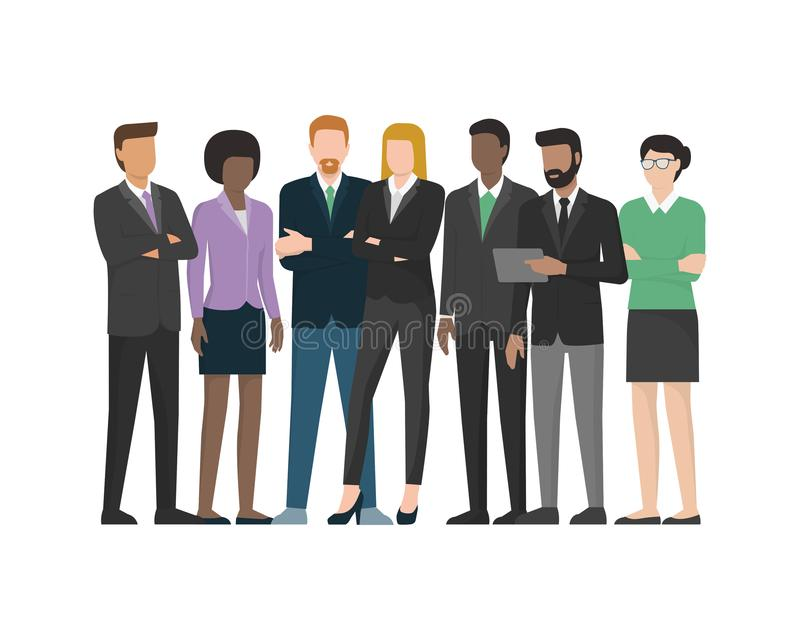 Multiethnic business team. Office workers and executives standing together vector illustration