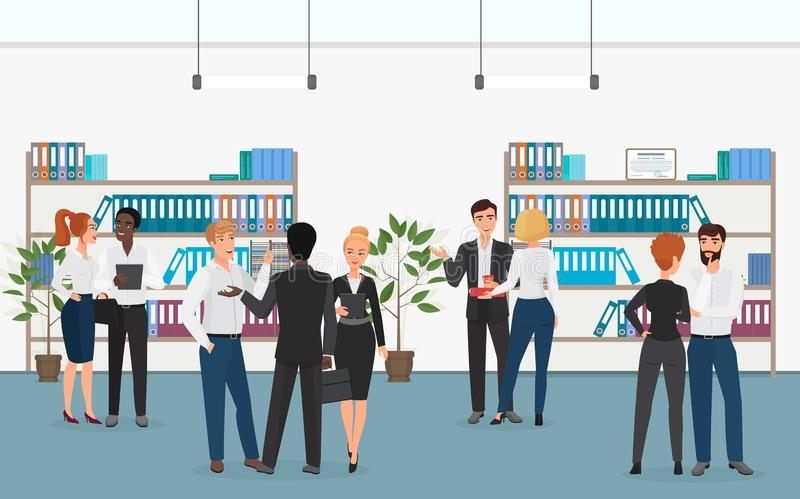 Multiethnic businessmen and businesswomen talking with each other while standing near shelves with folders in office. Vector illustration vector illustration