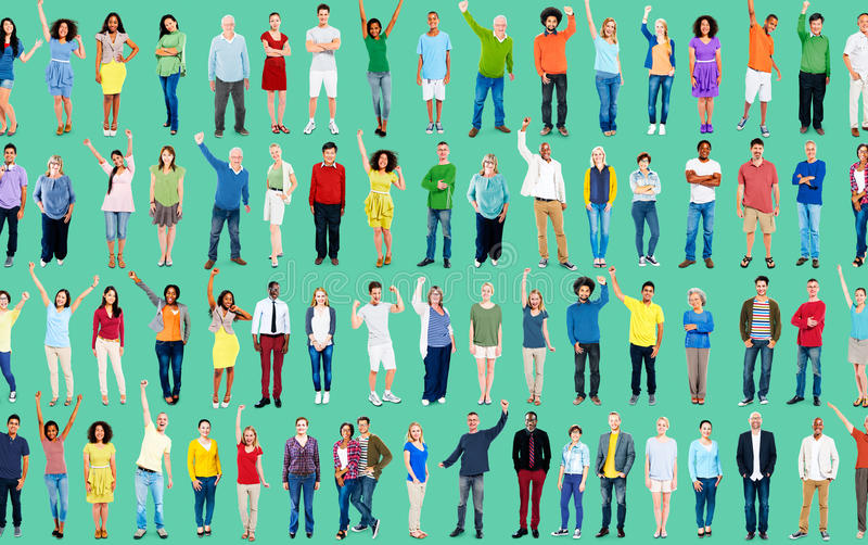 Multiethnic Casual People Togetherness Celebration Arms Raised C royalty free stock image