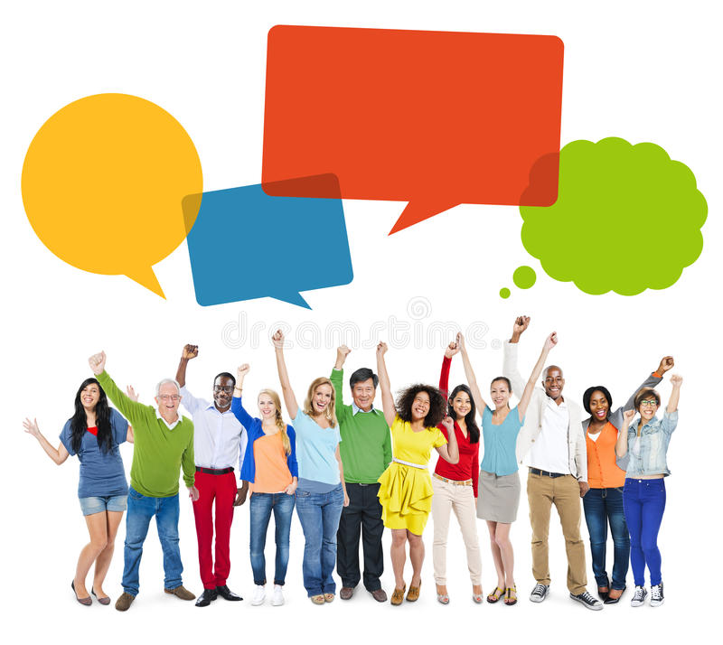 Free Multiethnic Cheerful People Celebrating With Speech Bubbles Stock Photo - 40979450