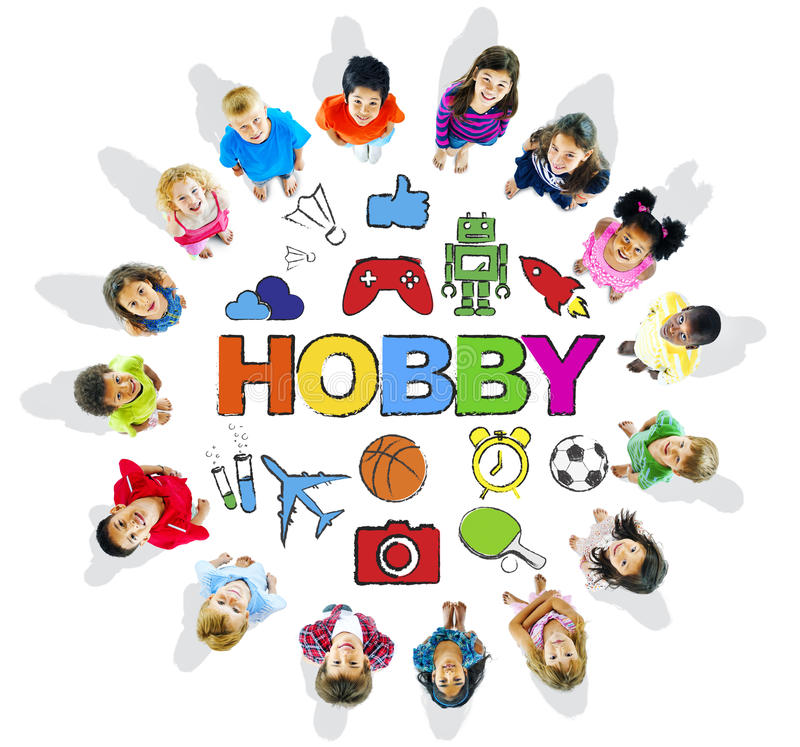 Multiethnic Children Forming a Circle with Hobby Concept.  royalty free illustration