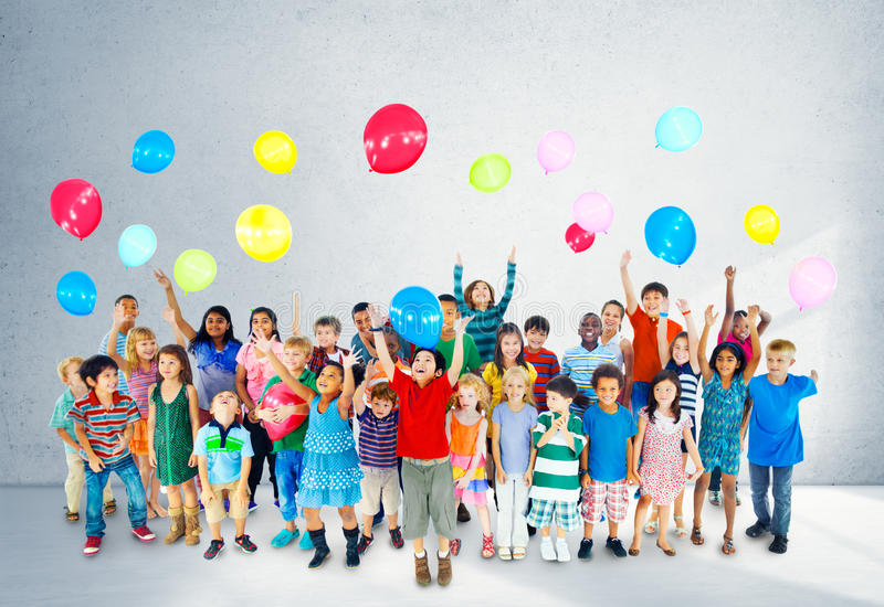 Multiethnic Children Smiling Happiness Friendship Balloon Concept stock photos