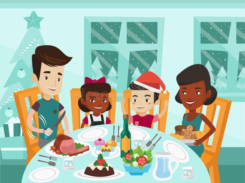Multiethnic family celebrating Christmas day. royalty free illustration