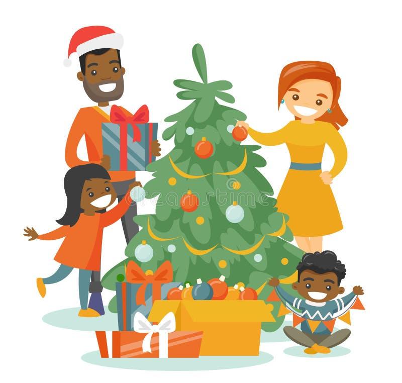 Multiethnic family decorating the Christmas tree. Young happy multiethnic family decorating the Christmas tree. Cheerful African-american father and Caucasian stock illustration