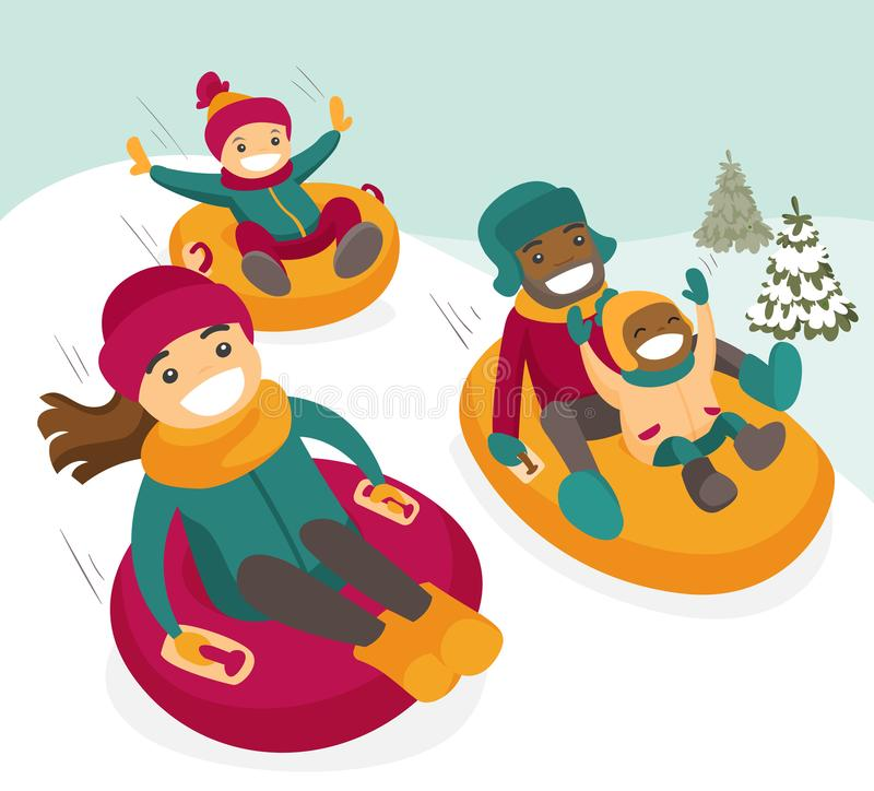Multiethnic family sliding down the hill on tubes. Multiethnic family sliding down the hill on tubes in winter park. African father and Caucasian mother with royalty free illustration