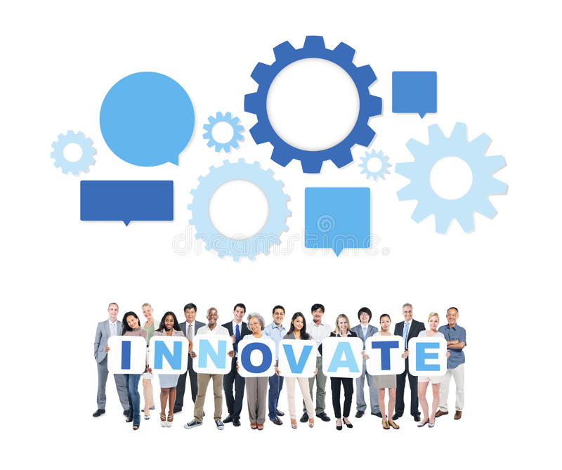 Multiethnic Group Of Business People with Innovate stock image