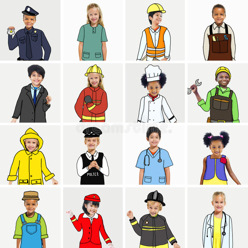 Multiethnic group of Children with Dream Jobs Concepts.  stock illustration