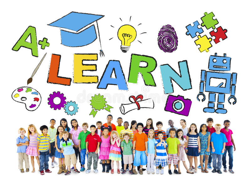 Multiethnic Group of Children and Learning Concept royalty free stock image