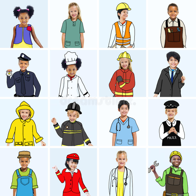 Multiethnic group of Children with Various Jobs Concepts.  royalty free illustration