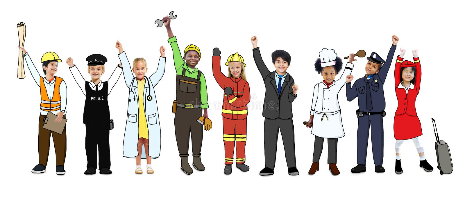 Multiethnic Group of Children with Various Occupations Concept.  royalty free illustration