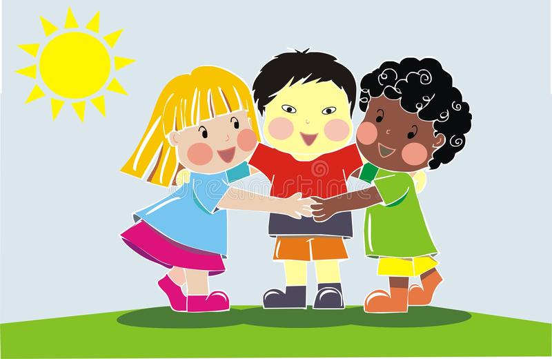 Multiethnic group of friends. Hugging and smiling outside royalty free illustration