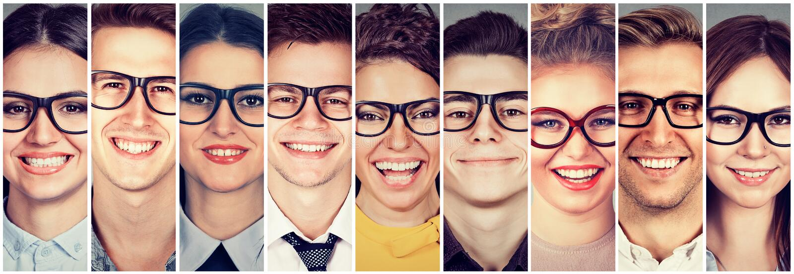 Multiethnic group of happy people in glasses men and women. Multiethnic group of happy young people in glasses men and women royalty free stock photos
