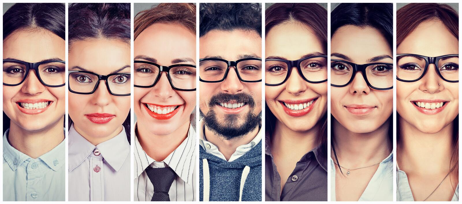 Multiethnic group of happy young women in glasses and one cheerful guy stock photos