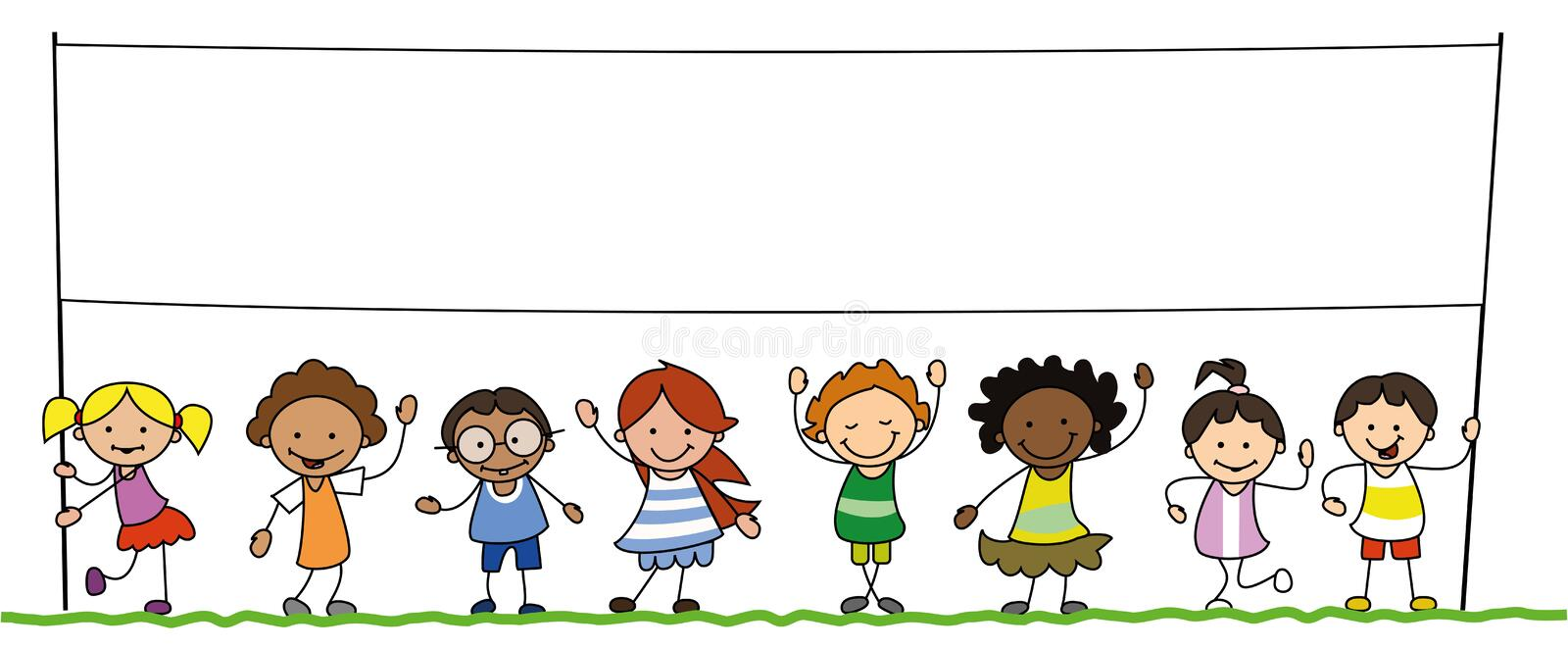 Group Of Kids And Banner Stock Vector. Illustration Of