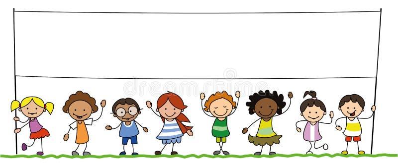 Multiethnic group of kids holding blank banner illustration. Children holding empty sign royalty free illustration