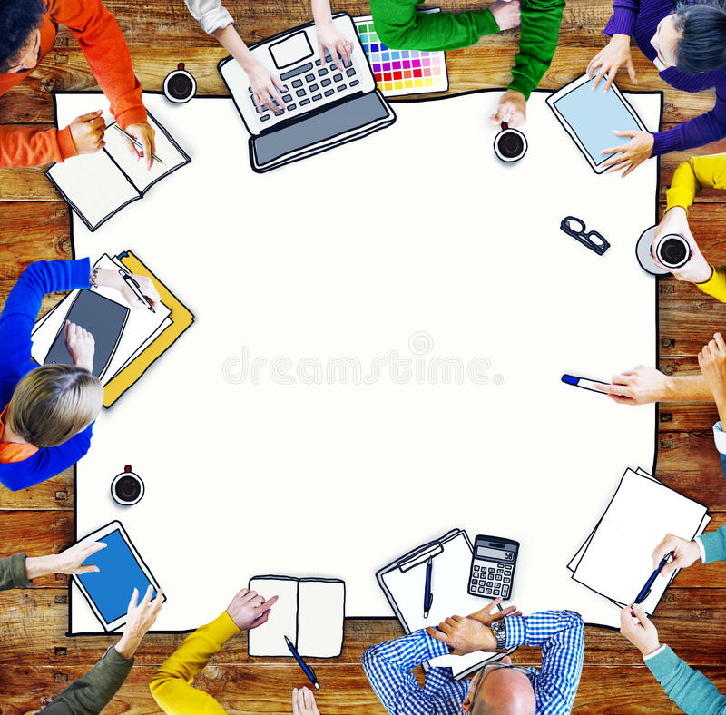 Multiethnic Group of People Brainstorming. Busy Multiethnic Group of People Brainstorming Illustration stock illustration