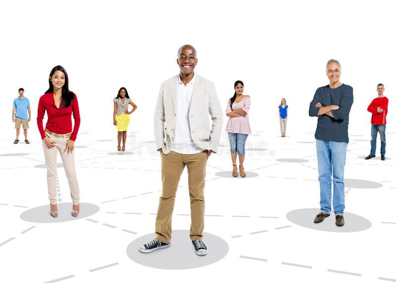 Multiethnic Group of People with Connection Concept.  stock photography
