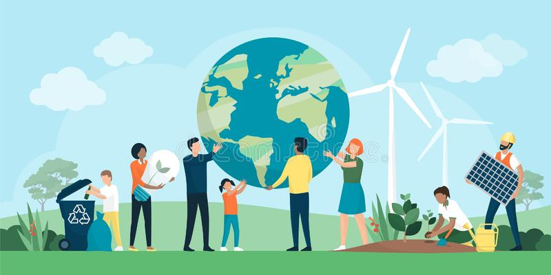 Multiethnic group of people cooperating for environmental protection. And sustainability in a park: they are supporting earth together, recycling waste, growing vector illustration