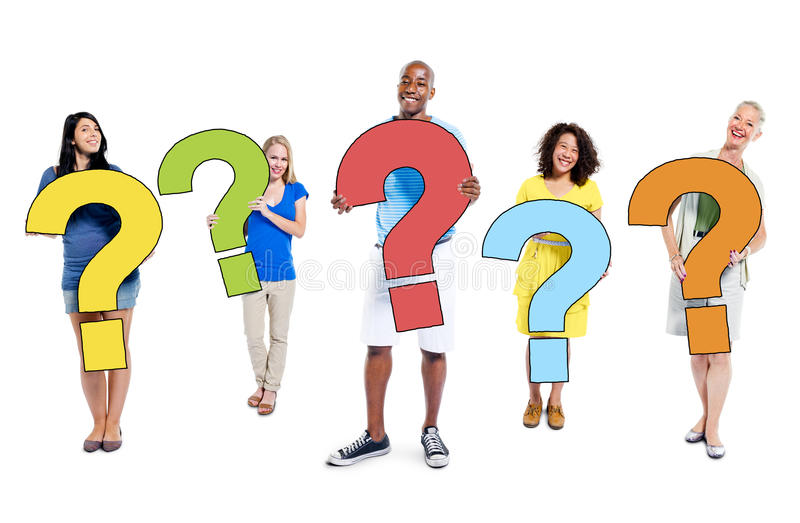 Multiethnic Group of People Holding Question Marks.  royalty free stock photography