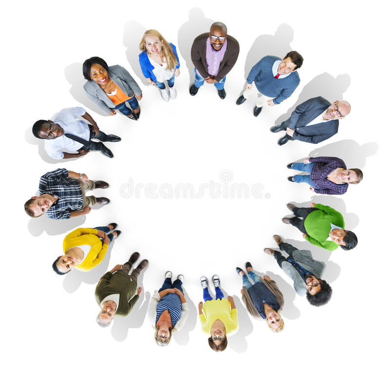 Multiethnic Group of People Looking Up at the Camera.  stock illustration
