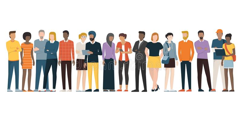 Multiethnic group of people stock illustration