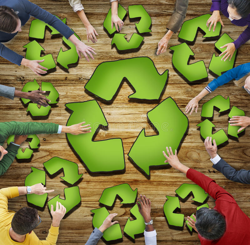 Multiethnic Group of People with Recycling Symbol.  royalty free illustration