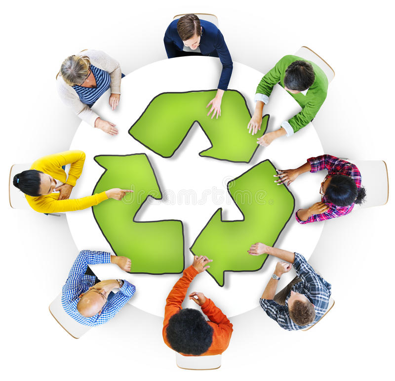 Multiethnic Group of People with Recycling Symbol stock illustration