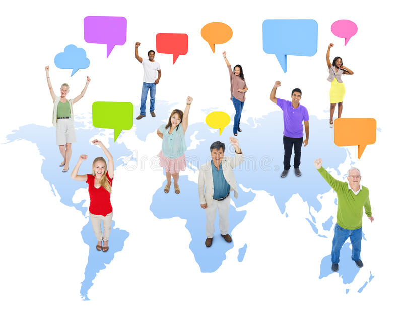 Multiethnic Group of People with World Communication.  vector illustration